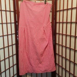 NWT, XL pink and white striped sleeveless dress